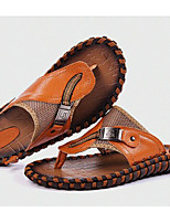 Men's Slippers & Flip-Flops Comfort Cowhide Spring Casual Black Orange Brown Flat
