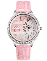 Women's Fashion Watch Quartz Leather Band White Green Pink