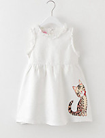 Girl's Animal Jacquard Dress,Rayon Summer Spring Fall Sleeveless