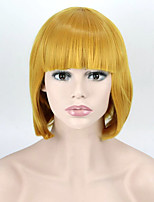30cm Short Yellow color Neat Bang Short Wavy Wig Synthetic High Temperature Fiber For Cosplay Wig