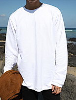 Men's Daily Hoodie Solid Round Neck Inelastic Cotton Long Sleeve Spring Fall