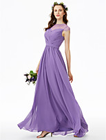 2017 LAN TING BRIDE Floor-length Jewel Bridesmaid Dress - See Through Short Sleeve Chiffon Lace