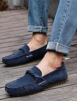 Men's Loafers & Slip-Ons Comfort PU Fall Casual Comfort Flat Heel Black Brown Blue Flat