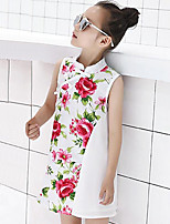 Girl's Floral Patchwork Dress,Cotton Summer Sleeveless