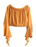 Tee-shirt Femme,Couleur Pleine Sexy simple Chic de Rue Eté Manches Longues Bateau Coton Fin Moyen