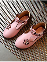 Girls' Flats Moccasin Comfort Leatherette Spring Fall Outdoor Casual Walking Magic Tape Low Heel Blushing Pink Peach White Flat