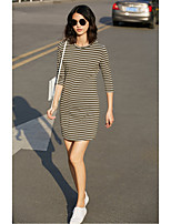 AMIIWomen's Casual/Daily Simple T Shirt DressStriped Round Neck Above Knee 3/4 Length Sleeve Cotton Summer Mid Rise Micro-elastic Thin