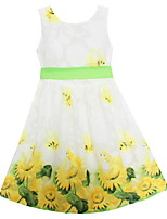 Girls Fashion Dress Yellow Sunflower Print Belt Party Holiday Summer Kids Clothing