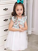 Girl's Floral Dress,Cotton Polester/Cotton Blend Summer Short Sleeve