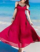 Dámské Jdeme ven Plážové Bodycon Šaty Jednobarevné,Bez rukávů Úzký výstřih Maxi Hedvábí Bavlna Léto Podzim Low Rise Lehce elastické