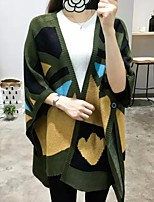 Women's Casual/Daily Simple Long Cloak / Capes,Patchwork Stand Cotton Fall Medium Micro-elastic