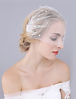 Handmade Wedding Veil One-tier Blusher Veils Cut Edge Tulle Alloy Comb