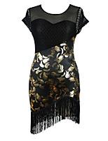 Latin Dance Dresses Women's Performance Milk Fiber Tassel(s) 1 Piece Sleeveless High Dress
