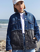Women's Going out Street chic Spring Denim Jacket,Color Block Stand Long Sleeve Regular Cotton
