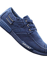 Men's Sneakers Comfort Nappa Leather Fabric Spring Casual Navy Blue Dark Grey Flat