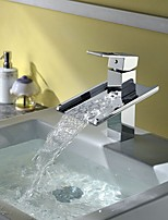 Modern Style Waterfall Single Handle Single Hole Bathroom Basin Sink Mixer Faucet in Chrome