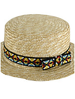 Geometric Summer Straw Hat Cap Folding Beach Outdoor Tourism Wide Brim Hawaii Folding Soft Sun Hat
