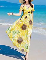 Feminino Bainha Vestido,Para Noite Praia Simples Estampado Decote Canoa Longo Manga Curta Seda Verão Cintura Média Sem Elasticidade Média