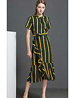 YIPINWAN Women's Going out Casual/Daily Loose DressPrint Round Neck Asymmetrical Short Sleeve Rayon Spring Summer High Rise Micro-elastic Thin