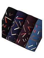 4Pcs/Lot Men's Fashion Sexy Printed Boxers Underwear Cotton Soft Panties