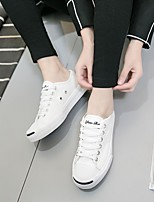 Unisex Sneakers Comfort PU Tulle Spring Casual Black White Flat