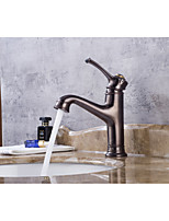 Contemporary Centerset Widespread with  Ceramic Valve Single Handle One Hole for  Oil-rubbed Bronze , Bathroom Sink Faucet