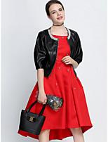 Для женщин Для вечеринок Весна Кожаные куртки Круглый вырез,Изысканный и современный Однотонный Короткая 1/2 Length Sleeve,Полиэстер,
