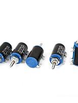WXD3-13 10K Ohm 2W 4 Pins Rotatable 10 Turn Wire Wound Potentiometer 5 Piece