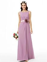 LAN TING BRIDE Na zem Klenot Šaty pro družičky - Krásná záda Květinové Bez rukávů Šifón