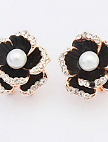 Korean Style Fashion  Black Luxury Elegant  Flower Pearl Rhinestone  Earrings Women's Daily Movie Jewelry
