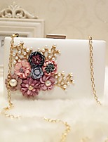 Women Evening Bag PU All Seasons Event/Party Party & Evening Club Baguette Flower Magnetic Peach Blushing Pink Black White