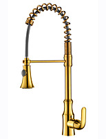 Art Deco/Retro Modern Pull-out/­Pull-down Standard Spout CentersetCeramic ValveGold , Kitchen faucet