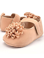 Baby Kids' Loafers & Slip-Ons First Walkers Microfibre Fall Winter Party & Evening Dress Casual Flower Flat Heel Almond Blushing Pink Red Flat