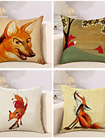 Set Of 4 Cartoon Fox Pattern Pillow Cover Linen Sofa Cushion Cover Creative Pillow Case