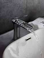 Contemporary Art Deco/Retro Modern Deck Mounted Waterfall Thermostatic with  Ceramic Valve Single Handle One Hole Bathroom Basin Faucet