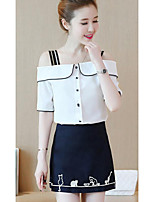 Women's Casual/Daily Simple Summer T-shirt Skirt Suits,Print Bateau 1/2 Length Sleeve Micro-elastic