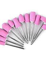 12PCS  Nail Art Quartz Pink Grinding Head The Polishing Head Suit
