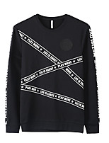 Men's Casual/Daily Sweatshirt Solid Round Neck Micro-elastic Polyester