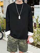 Men's Casual/Daily Simple Sweatshirt Solid Round Neck strenchy Cotton Long Sleeve Spring