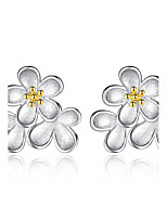 Stud Earrings Flower Style Sterling Silver Jewelry For Wedding Party Daily Casual 1 pair