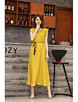KLIMEDA Women's Going out Casual/Daily Cute Swing DressSolid Round Neck Midi Sleeveless Polyester Spring Summer Mid Rise Micro-elastic Medium