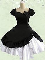 One-Piece/Dress Sweet Lolita Lolita Cosplay Lolita Dress Pink Black Red Vintage Cap Short Sleeve Short / Mini Dress For