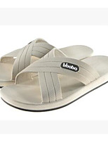 Men's Slippers & Flip-Flops Comfort Leatherette Spring Casual White Black Blue Flat