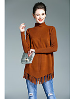 WEIWEIMEI Women's Going out Casual/Daily Simple Long PulloverSolid Crew Neck Long Sleeve Rabbit Hair Spring Thick Stretchy