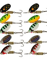 HiUmi Lot 10pcs Spinners Spoon 3.5g 5.5g Fishing Lure Hard Artificial Bait Fishing Tool 5 Colors