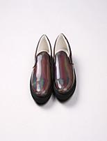 Для женщин На плокой подошве Полиуретан Весна На толстом каблуке Серебряный Темно-серый 2,5 - 4,5 см