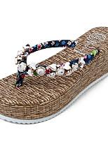 Damen Slippers & Flip-Flops Komfort Stoff Frühling Sommer Lässig Walking Slouch Stiefel Perle Flacher Absatz Schwarz Rot Blau Flach