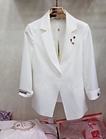 Women's Going out Simple Spring Blazer,Solid Stand Long Sleeve Regular Nylon