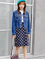 Women's Casual/Daily Vintage Spring Fall Denim Jacket,Solid Round Neck Long Sleeve Short Cotton