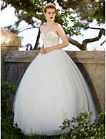 Ballkleid Hochzeitskleid - Elegant & Luxuriös Rückenfrei Einfach hinreißend Boden-Länge Herzausschnitt Tüll mitApplikationen